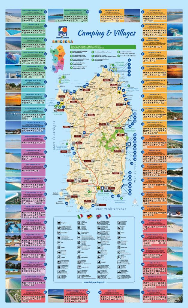 Cartina Campeggi Sardegna.Carta Dei Campeggi E Villaggi Camping E Villaggi Faita Sardegna